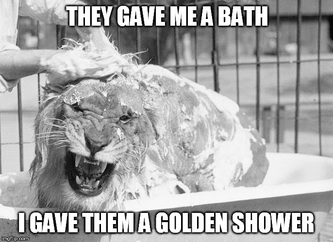THEY GAVE ME A BATH I GAVE THEM A GOLDEN SHOWER | made w/ Imgflip meme maker