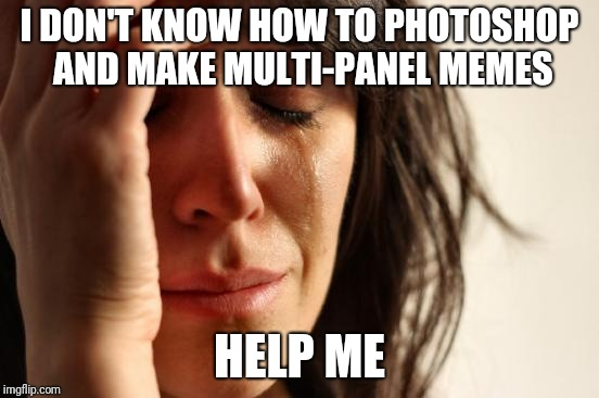 Help me | I DON'T KNOW HOW TO PHOTOSHOP AND MAKE MULTI-PANEL MEMES HELP ME | image tagged in memes,first world problems,photoshop,help | made w/ Imgflip meme maker