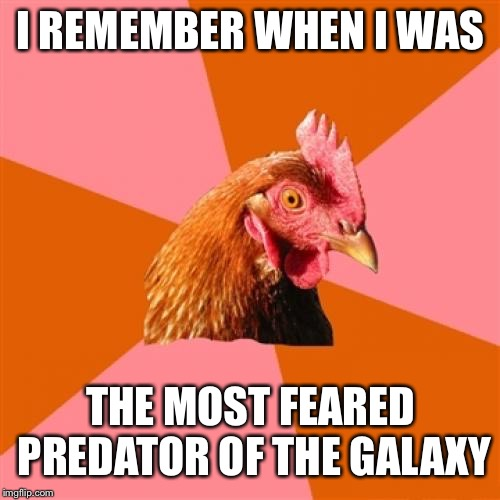 Anti Joke Chicken Meme | I REMEMBER WHEN I WAS THE MOST FEARED PREDATOR OF THE GALAXY | image tagged in memes,anti joke chicken | made w/ Imgflip meme maker