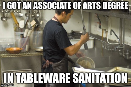 Money for nothing and your degree isn't free | I GOT AN ASSOCIATE OF ARTS DEGREE IN TABLEWARE SANITATION | image tagged in washing dishes,useless college degrees,memes | made w/ Imgflip meme maker