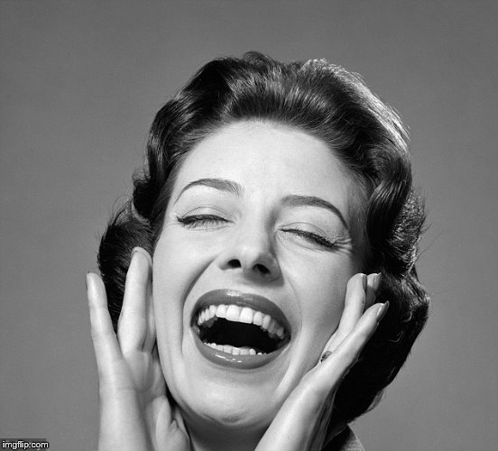 Retro vintage lady laughing | image tagged in retro vintage lady laughing | made w/ Imgflip meme maker