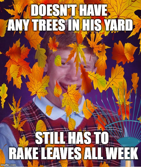 Bad Rake Brian | DOESN'T HAVE ANY TREES IN HIS YARD STILL HAS TO RAKE LEAVES ALL WEEK | image tagged in funny memes,bad luck brian,fall,leaves,yard work,windy | made w/ Imgflip meme maker