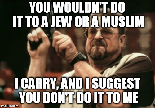 Am I The Only One Around Here Meme | YOU WOULDN'T DO IT TO A JEW OR A MUSLIM I CARRY, AND I SUGGEST YOU DON'T DO IT TO ME | image tagged in memes,am i the only one around here | made w/ Imgflip meme maker