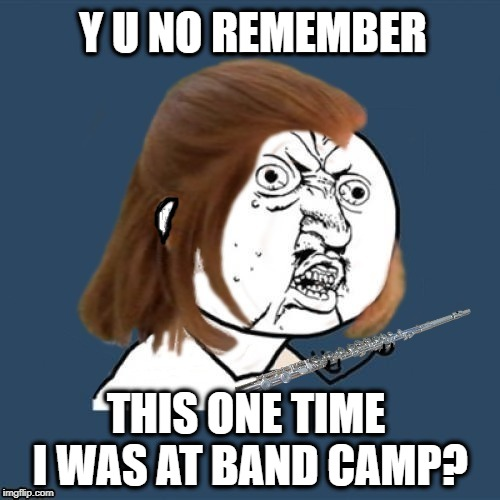 Apple Why-Y U NOvember, a socrates and punman21 event | Y U NO REMEMBER THIS ONE TIME I WAS AT BAND CAMP? | image tagged in funny memes,y u november,y u no guy,apple pie,flute | made w/ Imgflip meme maker