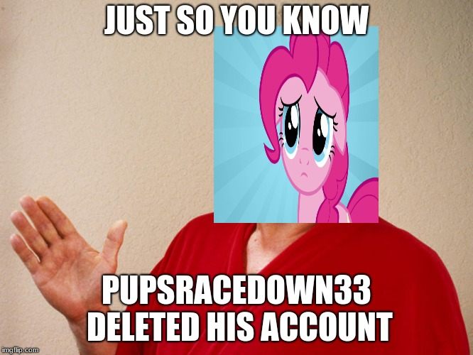 Just so you know. | JUST SO YOU KNOW PUPSRACEDOWN33 DELETED HIS ACCOUNT | image tagged in just so you know | made w/ Imgflip meme maker