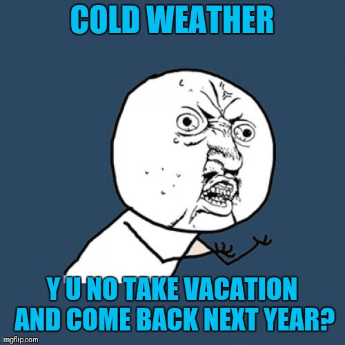 Y U NOvember (A socrates and punman21 event) | COLD WEATHER Y U NO TAKE VACATION AND COME BACK NEXT YEAR? | image tagged in memes,y u no,funny,y u november,socrates,punman21 | made w/ Imgflip meme maker