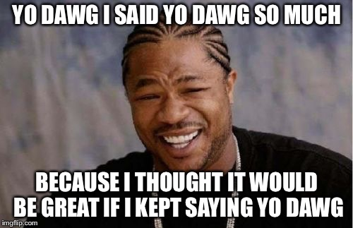 Yo Dawg Heard You Meme | YO DAWG I SAID YO DAWG SO MUCH BECAUSE I THOUGHT IT WOULD BE GREAT IF I KEPT SAYING YO DAWG | image tagged in memes,yo dawg heard you | made w/ Imgflip meme maker
