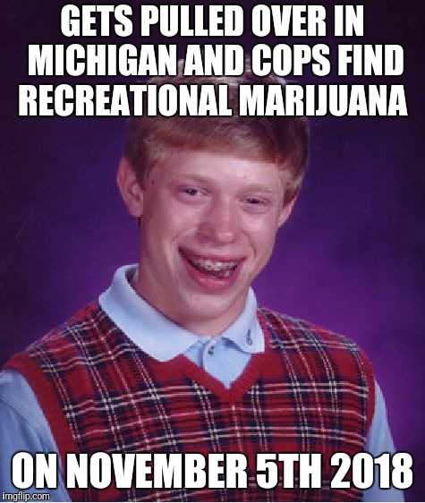 You crazy michiganders | GETS PULLED OVER IN MICHIGAN AND COPS FIND RECREATIONAL MARIJUANA ON NOVEMBER 5TH 2018 | image tagged in memes,bad luck brian,pot,marijuana,midterms | made w/ Imgflip meme maker