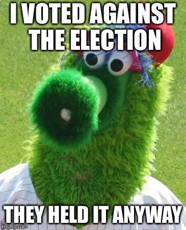 Philli Phanatic | I VOTED AGAINST THE ELECTION THEY HELD IT ANYWAY | image tagged in philli phanatic | made w/ Imgflip meme maker