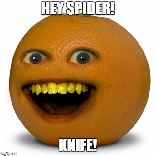 Annoying Orange | HEY SPIDER! KNIFE! | image tagged in annoying orange | made w/ Imgflip meme maker