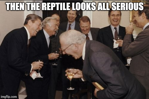 Laughing Men In Suits Meme | THEN THE REPTILE LOOKS ALL SERIOUS | image tagged in memes,laughing men in suits | made w/ Imgflip meme maker