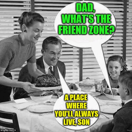 Ouch, Dad. | DAD, WHAT'S THE FRIEND ZONE? A PLACE WHERE YOU'LL ALWAYS LIVE, SON | image tagged in memes,friend zone,father and son,dashhopes,funny | made w/ Imgflip meme maker