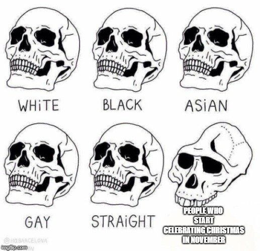 Christmas starts December! | PEOPLE WHO START CELEBRATING CHRISTMAS IN NOVEMBER | image tagged in retarded caveman skulls,christmas,skulls | made w/ Imgflip meme maker