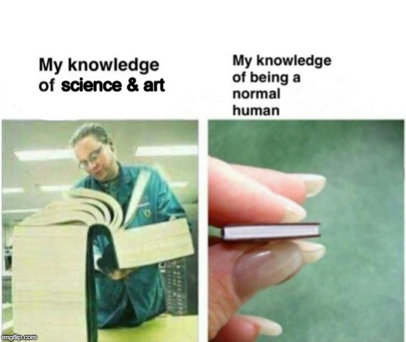 science & art | image tagged in my knowledge of | made w/ Imgflip meme maker