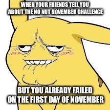 WHEN YOUR FRIENDS TELL YOU ABOUT THE NO NUT NOVEMBER CHALLENGE BUT YOU ALREADY FAILED ON THE FIRST DAY OF NOVEMBER | image tagged in no nut november,failure,pikachu,derp face | made w/ Imgflip meme maker