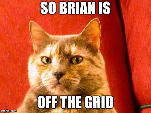 Suspicious Cat Meme | SO BRIAN IS OFF THE GRID | image tagged in memes,suspicious cat | made w/ Imgflip meme maker