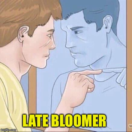 Pointing mirror guy | LATE BLOOMER | image tagged in pointing mirror guy | made w/ Imgflip meme maker