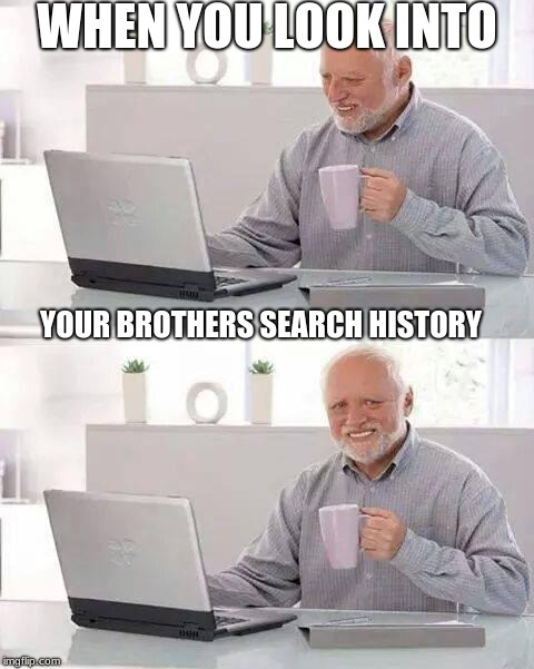Hide the Pain Harold Meme | WHEN YOU LOOK INTO YOUR BROTHERS SEARCH HISTORY | image tagged in memes,hide the pain harold | made w/ Imgflip meme maker
