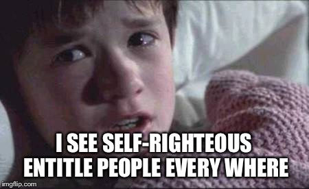 I See Dead People Meme | I SEE SELF-RIGHTEOUS ENTITLE PEOPLE EVERY WHERE | image tagged in memes,i see dead people | made w/ Imgflip meme maker