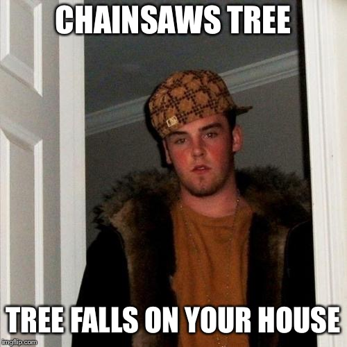 Scumbag Steve Meme | CHAINSAWS TREE TREE FALLS ON YOUR HOUSE | image tagged in memes,scumbag steve | made w/ Imgflip meme maker