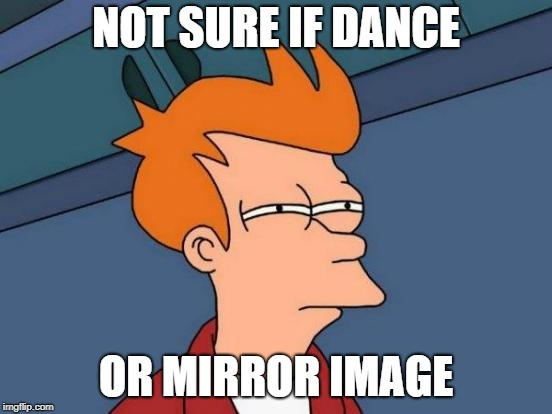 Futurama Fry Meme | NOT SURE IF DANCE OR MIRROR IMAGE | image tagged in memes,futurama fry | made w/ Imgflip meme maker
