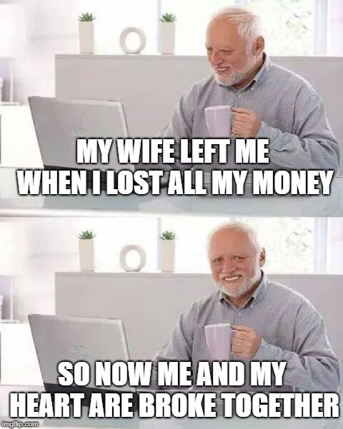 Hide the Pain Harold | MY WIFE LEFT ME WHEN I LOST ALL MY MONEY SO NOW ME AND MY HEART ARE BROKE TOGETHER | image tagged in memes,hide the pain harold | made w/ Imgflip meme maker