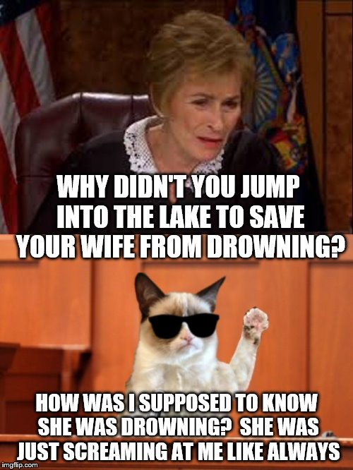 Ladies, make sure your husband knows the difference. | WHY DIDN'T YOU JUMP INTO THE LAKE TO SAVE YOUR WIFE FROM DROWNING? HOW WAS I SUPPOSED TO KNOW SHE WAS DROWNING?  SHE WAS JUST SCREAMING AT M | image tagged in judge judy and the cat,joke,funny,husband,wife | made w/ Imgflip meme maker