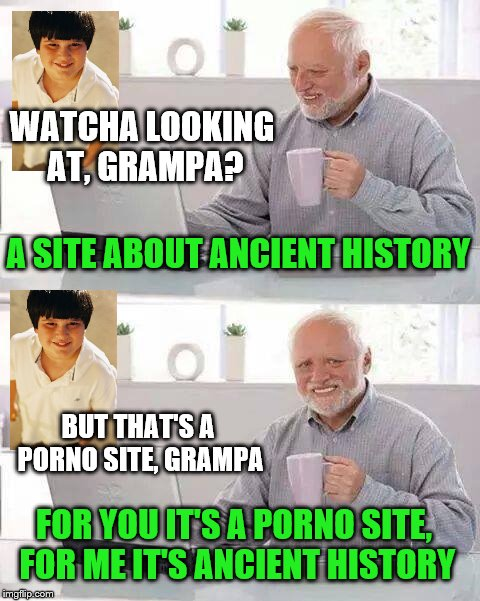 If anyone here sees this and thinks I'm making fun of them - you're right. | WATCHA LOOKING AT, GRAMPA? BUT THAT'S A PORNO SITE, GRAMPA A SITE ABOUT ANCIENT HISTORY FOR YOU IT'S A PORNO SITE, FOR ME IT'S ANCIENT HISTO | image tagged in hide the pain harold,grandpa,grandson,porno,history | made w/ Imgflip meme maker