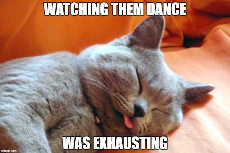 WATCHING THEM DANCE WAS EXHAUSTING | made w/ Imgflip meme maker