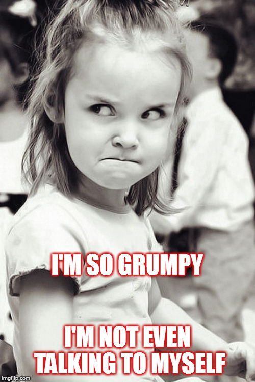 GRUMPY | I'M SO GRUMPY I'M NOT EVEN TALKING TO MYSELF | image tagged in grumpy,girl,angry,talking,little girl,mad | made w/ Imgflip meme maker