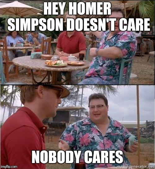 See? No one cares | HEY HOMER SIMPSON DOESN'T CARE NOBODY CARES | image tagged in see no one cares | made w/ Imgflip meme maker