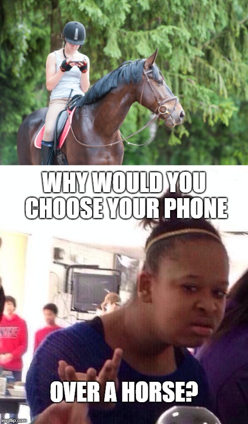 Maybe she's looking at pictures of horses? | WHY WOULD YOU CHOOSE YOUR PHONE OVER A HORSE? | image tagged in horse,phone,texting,memes,funny,black girl wat | made w/ Imgflip meme maker