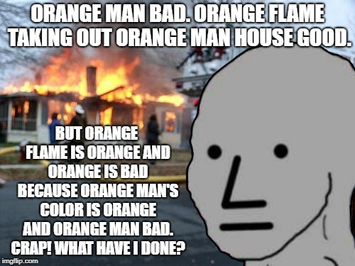 The Mental Pretzel Woven By A NPC | ORANGE MAN BAD. ORANGE FLAME TAKING OUT ORANGE MAN HOUSE GOOD. BUT ORANGE FLAME IS ORANGE AND ORANGE IS BAD BECAUSE ORANGE MAN'S COLOR IS OR | image tagged in memes,npc | made w/ Imgflip meme maker