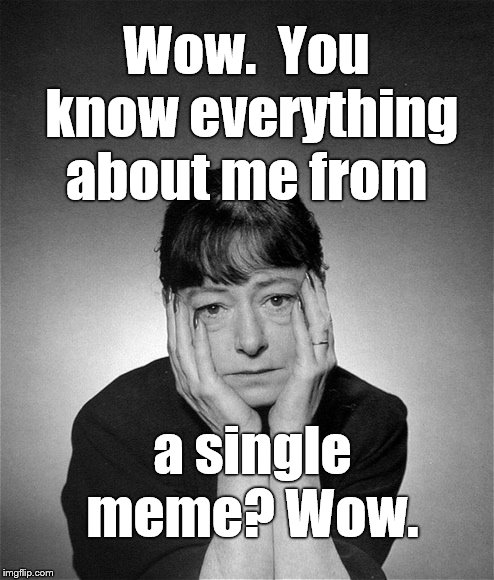 Dorothy Parker | Wow.  You know everything about me from a single meme? Wow. | image tagged in dorothy parker | made w/ Imgflip meme maker
