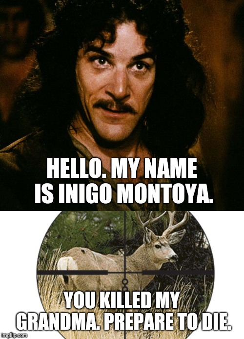 Too soon? |  HELLO. MY NAME IS INIGO MONTOYA. YOU KILLED MY GRANDMA. PREPARE TO DIE. | image tagged in inigo montoya,memes,prepare to die,christmas music songs carols,too soon,reindeer | made w/ Imgflip meme maker