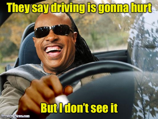 Stevie Wonder Driving | They say driving is gonna hurt But I don't see it | image tagged in stevie wonder driving | made w/ Imgflip meme maker