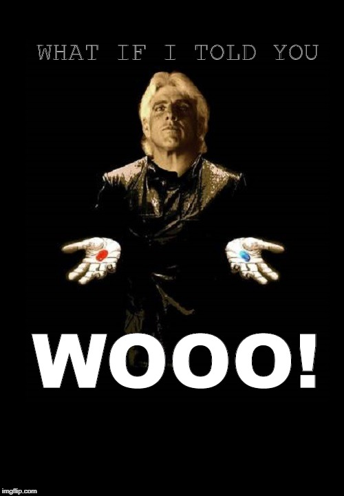 RIC FLAIR AS MORPHEUS | WHAT IF I TOLD YOU WOOO! | image tagged in ric flair,the matrix,matrix morpheus,wrestler,wrestling,pro wrestling | made w/ Imgflip meme maker