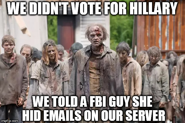 WE DIDN'T VOTE FOR HILLARY WE TOLD A FBI GUY SHE HID EMAILS ON OUR SERVER | made w/ Imgflip meme maker
