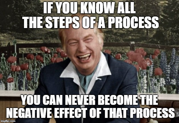 L. Ron Hubbard 002 |  IF YOU KNOW ALL THE STEPS OF A PROCESS; YOU CAN NEVER BECOME THE NEGATIVE EFFECT OF THAT PROCESS | image tagged in l ron hubbard 002 | made w/ Imgflip meme maker