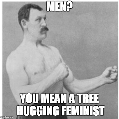 at least i'm still a man | MEN? YOU MEAN A TREE HUGGING FEMINIST | image tagged in memes,overly manly man | made w/ Imgflip meme maker