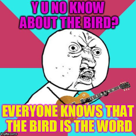 Y U No Music 2 | Y U NO KNOW ABOUT THE BIRD? EVERYONE KNOWS THAT THE BIRD IS THE WORD | image tagged in y u no music 2 | made w/ Imgflip meme maker