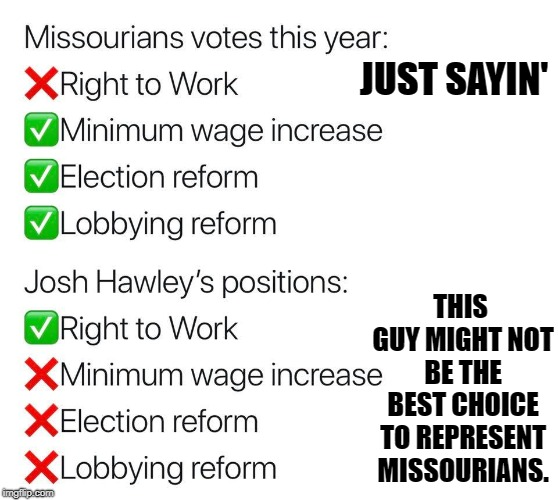 JUST SAYIN' THIS GUY MIGHT NOT BE THE BEST CHOICE TO REPRESENT MISSOURIANS. | made w/ Imgflip meme maker
