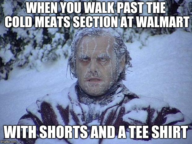 Jack Nicholson The Shining Snow | WHEN YOU WALK PAST THE COLD MEATS SECTION AT WALMART WITH SHORTS AND A TEE SHIRT | image tagged in memes,jack nicholson the shining snow | made w/ Imgflip meme maker