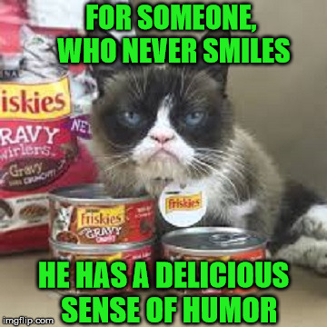 Grumpy Cat Num Nums |  FOR SOMEONE, WHO NEVER SMILES; HE HAS A DELICIOUS  SENSE OF HUMOR | image tagged in grumpy cat,memes,smile,humor,delicious | made w/ Imgflip meme maker