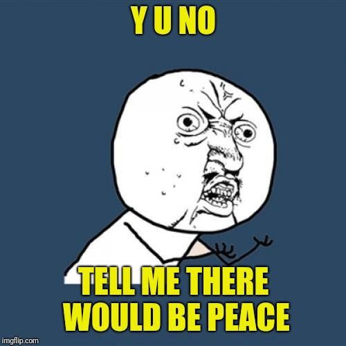 Y U No Meme | Y U NO TELL ME THERE WOULD BE PEACE | image tagged in memes,y u no | made w/ Imgflip meme maker