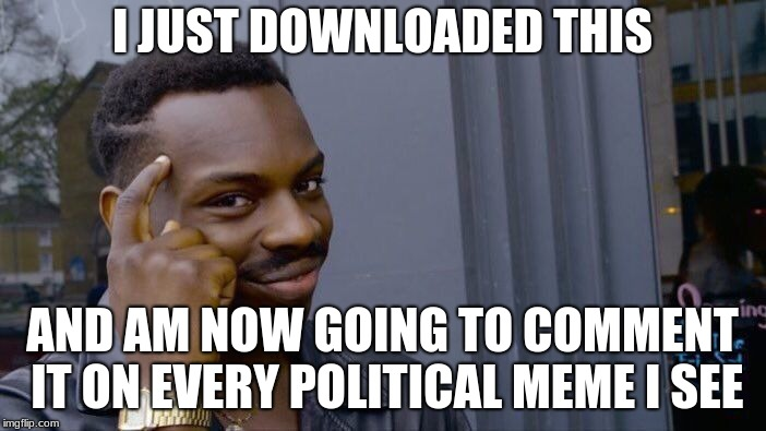 Roll Safe Think About It Meme | I JUST DOWNLOADED THIS AND AM NOW GOING TO COMMENT IT ON EVERY POLITICAL MEME I SEE | image tagged in memes,roll safe think about it | made w/ Imgflip meme maker
