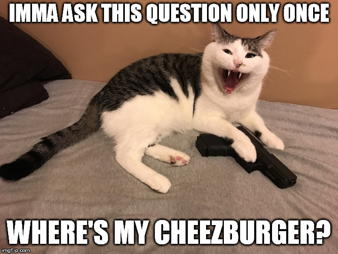IMMA ASK THIS QUESTION ONLY ONCE WHERE'S MY CHEEZBURGER? | made w/ Imgflip meme maker