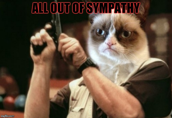 Grumpy cat | ALL OUT OF SYMPATHY | image tagged in grumpy cat | made w/ Imgflip meme maker