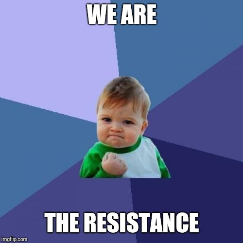 Success Kid Meme | WE ARE THE RESISTANCE | image tagged in memes,success kid | made w/ Imgflip meme maker