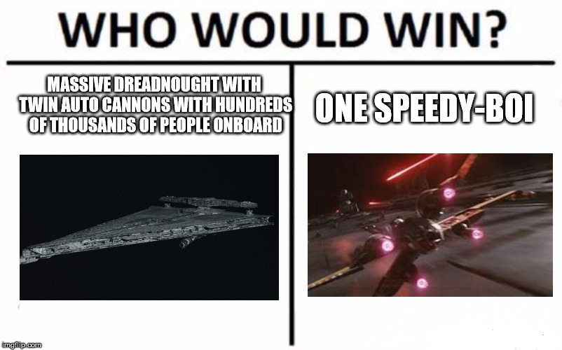 Who Would Win? | MASSIVE DREADNOUGHT WITH TWIN AUTO CANNONS WITH HUNDREDS OF THOUSANDS OF PEOPLE ONBOARD ONE SPEEDY-BOI | image tagged in memes,who would win | made w/ Imgflip meme maker